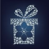Gift present with snowflake made up a lot of diamonds Royalty Free Stock Photos