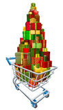 Gift present trolley shopping cart. Full of a big stack of wrapped gifts Stock Image