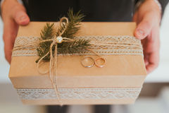 Gift presents. Hands and gifts. Gift presents at a wedding Stock Image