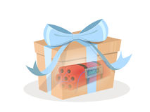 Gift pump. Terrorist attack. Gift box with blue ribbon and dynamite inside. Vector Stock Photo