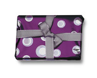 Gift in purple wrapping Royalty Free Stock Photo