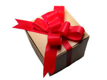 Gift With Red Bow. On white background Stock Photos