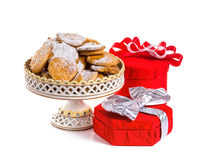 Gift with red bow and cookies Stock Photo