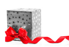 Gift with a red bow. Isolate on white background Stock Photo
