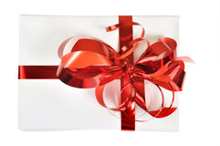 Gift with red bow isolated. On white background Royalty Free Stock Photo