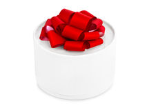 Gift and red bow. Isolated on white background Stock Images