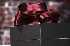 Gift with a red bow stock images