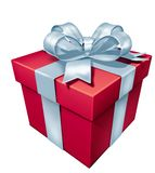 Gift red box. Gift box red blank with white bow isolated on white royalty free illustration