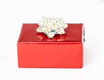 Gift in a red box Royalty Free Stock Photography