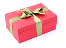 Gift red box. On a white background Royalty Free Stock Photography