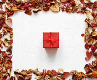 Gift red box with a bow in an environment of dry fragrant flowers on a white wooden background. Stock Photography