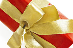 Gift red box with gold ribbon and bow isolated.  Stock Photo