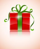 Gift in red box with green bow Royalty Free Stock Photography