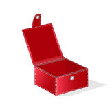 Gift red box with a hinged lid. For the holidays, web design and print. Stock Image