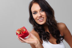 Gift in a red box Royalty Free Stock Images