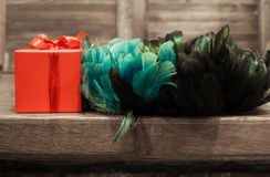 Gift in red box with turquoise, blue, green and black feather from edge of table Stock Photo