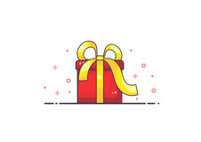 Gift. Red gift box on white background, vector vector illustration