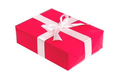 Gift red box with white ribbon Royalty Free Stock Photos