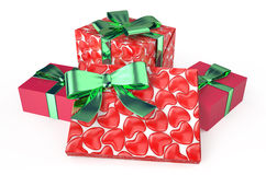 Gift red boxes Stock Photography
