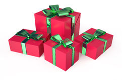 Gift red boxes Stock Photos