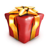 Gift red and gold ribbon Stock Photos
