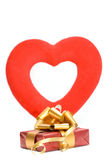 Gift and red heart Royalty Free Stock Images