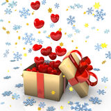 Gift With Red Hearts Royalty Free Stock Images