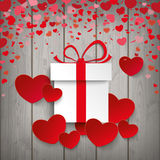 Gift Red Hearts Wood Royalty Free Stock Image