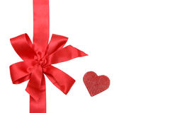 Gift red ribbon and bow. Isolated on white Stock Photo