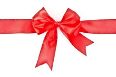 Gift red ribbon and bow isolated Stock Images