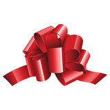 Gift red ribbon and bow isolated on white Stock Photo