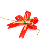 Gift red ribbon and bow isolated on white background Royalty Free Stock Image