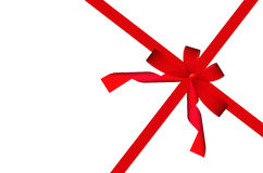 Gift red ribbon and bow isolated on white. Background Stock Photo