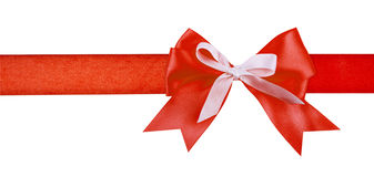 Gift red ribbon and bow isolated on white Stock Photos