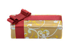Gift with red ribbon and bow isolated on white Royalty Free Stock Photography