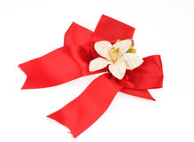 Gift red ribbon and bow  on white background Royalty Free Stock Images