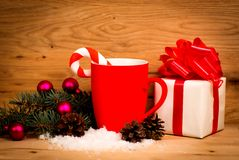 A gift with a red ribbon. Stock Photo
