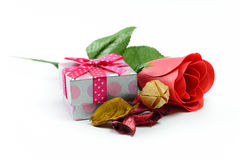 Gift and red rose Royalty Free Stock Photo