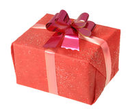 Gift in a red square box with bow Stock Image