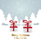 Gift red white winter snow landscape Stock Images