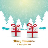 Gift red white winter snow landscape Royalty Free Stock Images