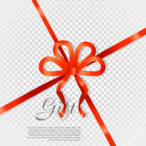 Gift Red Wide Ribbon. Bright Bow with Two Petals Stock Image