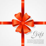 Gift Red Wide Ribbon. Bright Bow with Two Petals Royalty Free Stock Images