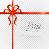 Gift Red Wide Ribbon. Bright Bow with Two Petals Royalty Free Stock Image
