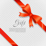 Gift Red Wide Ribbon. Bright Bow with Two Petals Royalty Free Stock Photo