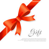 Gift Red Wide Ribbon. Bright Bow with Two Petals Stock Photo