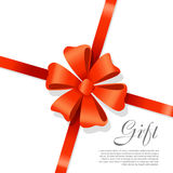 Gift Red Wide Ribbon. Bright Bow with Two Petals Royalty Free Stock Photos