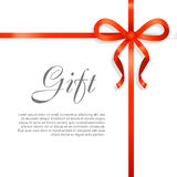 Gift Red Wide Ribbon. Bright Bow with Two Petals Stock Photos