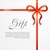 Gift. Red Wide Ribbon. Bright Bow with Two Petals Stock Photos