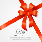 Gift. Red Wide Ribbon. Bright Bow with Two Petals Royalty Free Stock Images